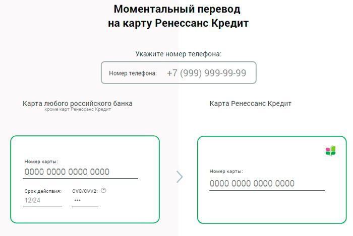 Онлайн пополнение карты Ренесанс Кредит