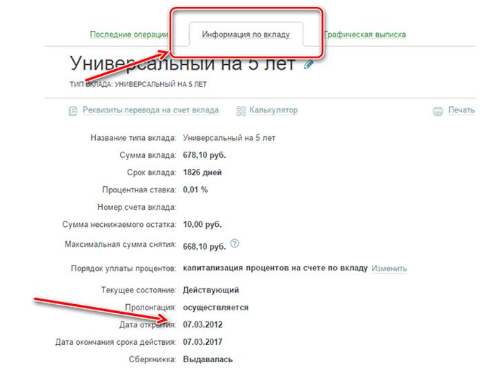 Дата открытия счета в Сбербанк Онлайн