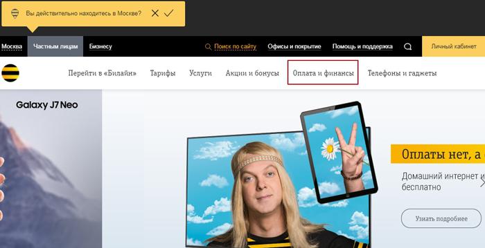 Сайт оператора Билайн
