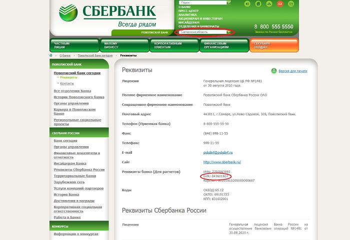 Банковские реквизиты Сбербанка