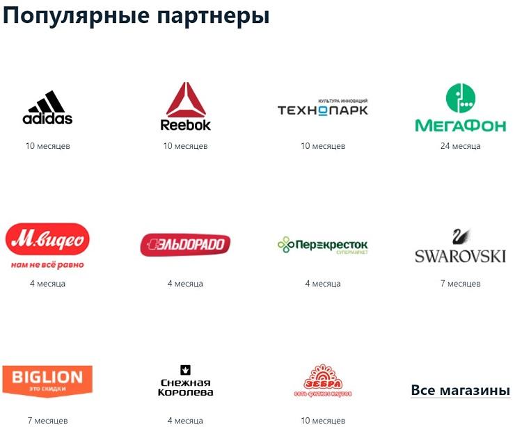 Список магазинов-партнеров Альфа банка